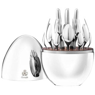 Mood by Christofle France 24-Piece Silver Plated Flatware Set With Egg Brand New For Sale
