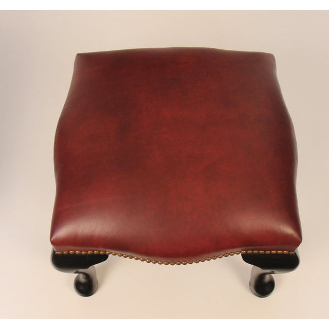 Black Lacquer & Burgundy Leather Benches - A Pair For Sale - Image 5 of 5