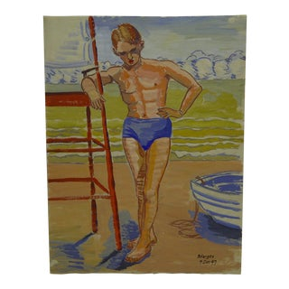 "1947 Mid-Century Modern Original Painting on Paper, ""Dandy in Blue Bathing Suit"" by Tom Sturges Jr"