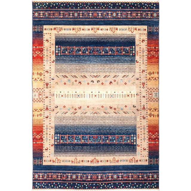 "Tribal Hand Knotted Area Rug - 6' 6"" X 9' 9"" - Image 4 of 4"