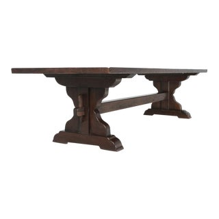 Antique French Oak Trestle Dining Table For Sale