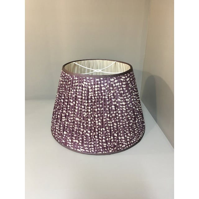 This Amethyst with White Spots bespoke shade with a Purple trim is made in England from a vintage sari. Penny Morrison...