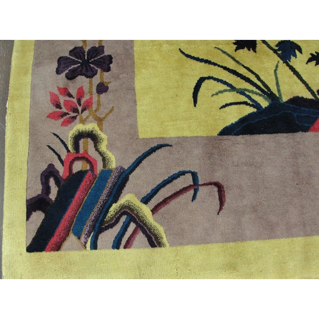 """Antique Chinese Art Deco Rug-8' X 9'8"""" For Sale - Image 9 of 11"""