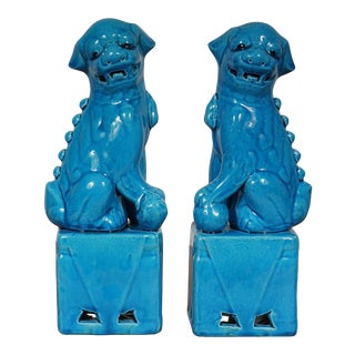Vintage Chinese Porcelain Turquoise Foo Dog Figurines - a Pair For Sale