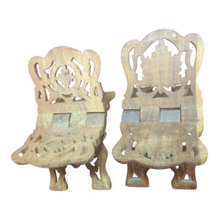 Vintage Hand Carved Bible Stand - a Pair