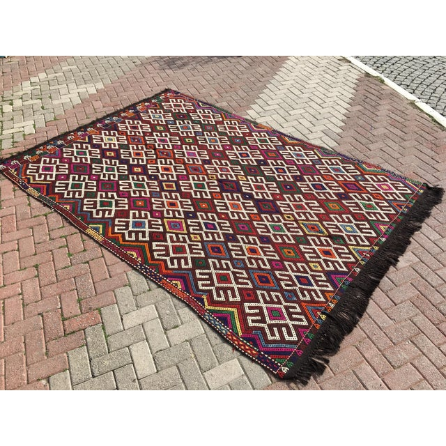 Vintage Turkish Kilim Rug- 7′1″ × 9′10″ - Image 3 of 10