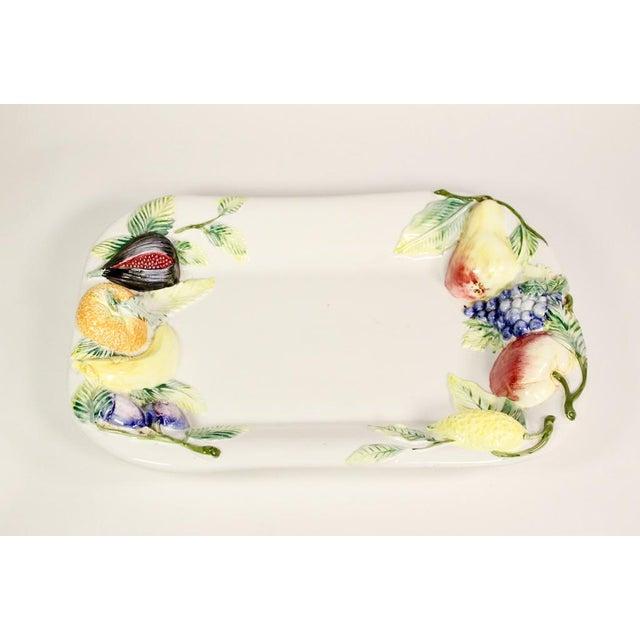 Ceramic Large Repoussé Majolica Fruit Motif Serving Platter For Sale - Image 7 of 7