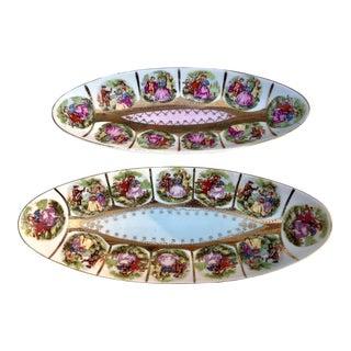 Vintage Porcelain Oval Olive Dish Fragonard Love Story by Arnart Creation a Pair For Sale