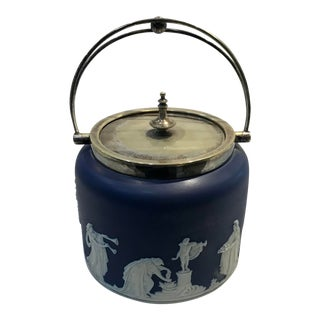Antique Wedgwood Navy Blue Biscuit Jar For Sale