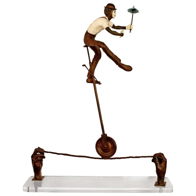Contemporary Jerry Soble Balancing Man Bronze Mime Sculpture, Signed, 1991 For Sale