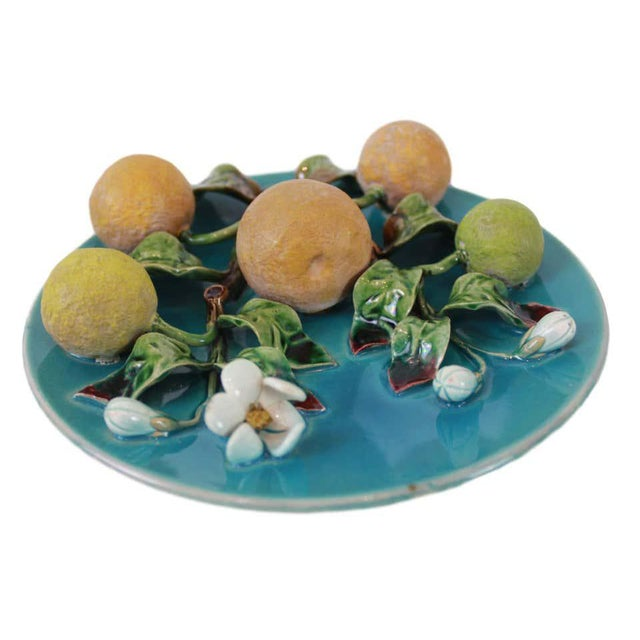 Menton French Majolica Wall Plaque on a Turquoise Ground With Oranges, Ca. 1880 For Sale - Image 6 of 10
