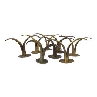 Mid 20th Century Eight Ystad-Metall of Sweden Brass Candle Sticks Design by Ivar Alenius-Bjork - Set of 8 For Sale