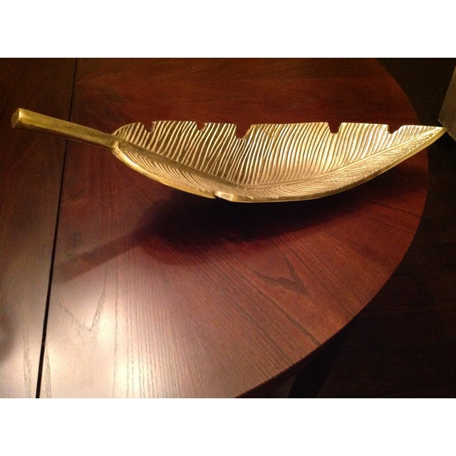 Asian Banana Leaf Gold Decorative Tray For Sale - Image 3 of 13
