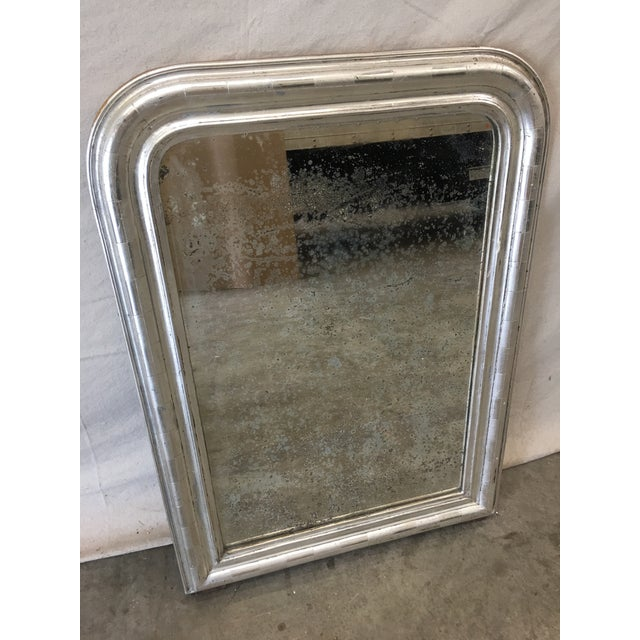 Glass French Antique Louis Philippe Silver Mirror With Distressed Mirror For Sale - Image 7 of 7