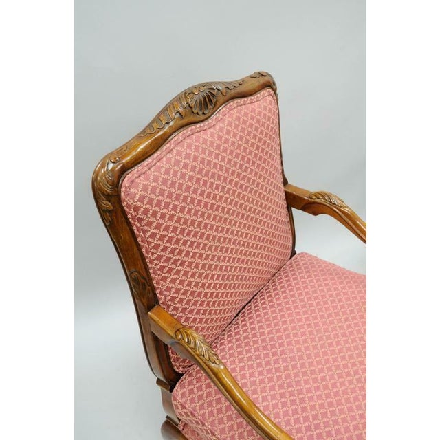 French Late 20th Century Country French Louis XV Shell Carved Century Bergere Lounge Arm Chairs- A Pair For Sale - Image 3 of 10