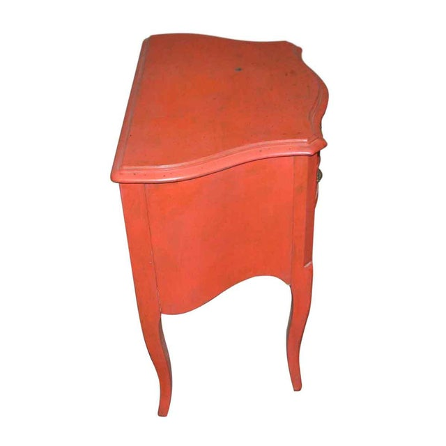 French Country Red Nightstand For Sale - Image 4 of 6