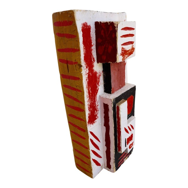 Abstract Painted Wood Sculpture by John Haley For Sale
