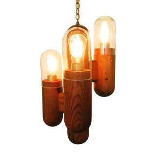 Postmodern Wood Cactus Chandelier For Sale