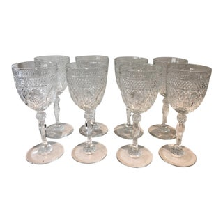 Faceted Glass Tall Goblets, Set of 8 For Sale