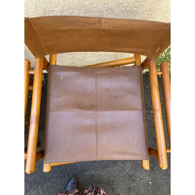 Vintage Set of 4 Leather Safari Chairs For Sale - Image 9 of 13
