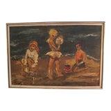 Image of Framed 1960s Oil Modernist Painting Children on Beach For Sale