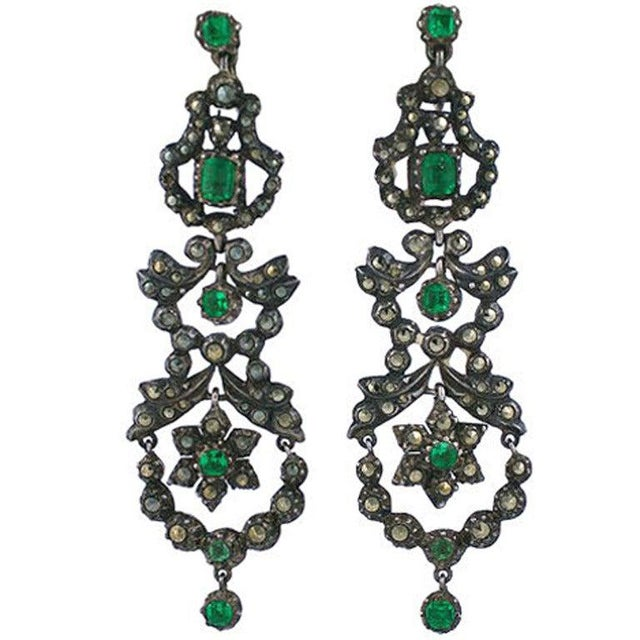 Edwardian Marcasite and Paste Set Earrings For Sale - Image 4 of 4