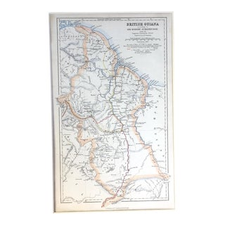 Antique 1840 Hand-Colored Map of British Guiana For Sale