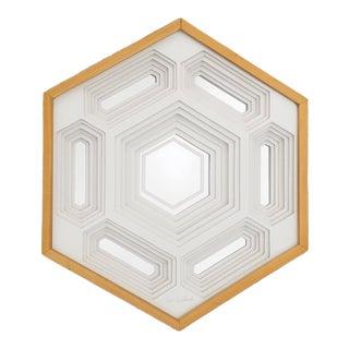 1970s Vintage Greg Copeland Op Art Honeycomb Sculptural Paper Mirror For Sale