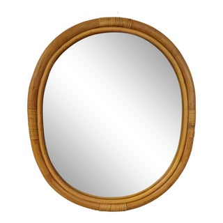 1980s Boho Chic Bamboo Oval Mirror For Sale