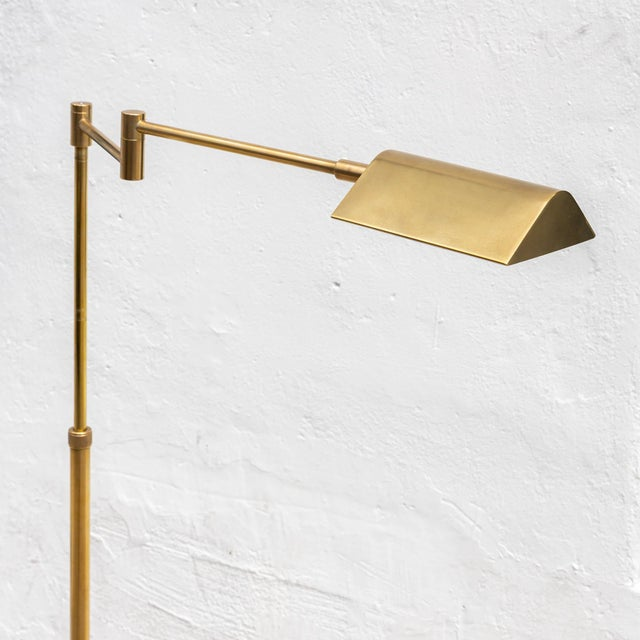 Vintage Brushed Brass Pharmacy Floor Lamp For Sale - Image 4 of 8