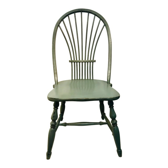 1970s Vintage Celedon Painted Windsor Chair For Sale
