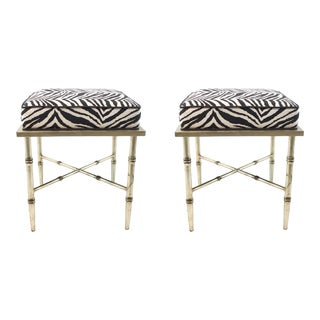 Modern Silver Bamboo Zebra Print Benches Pair For Sale