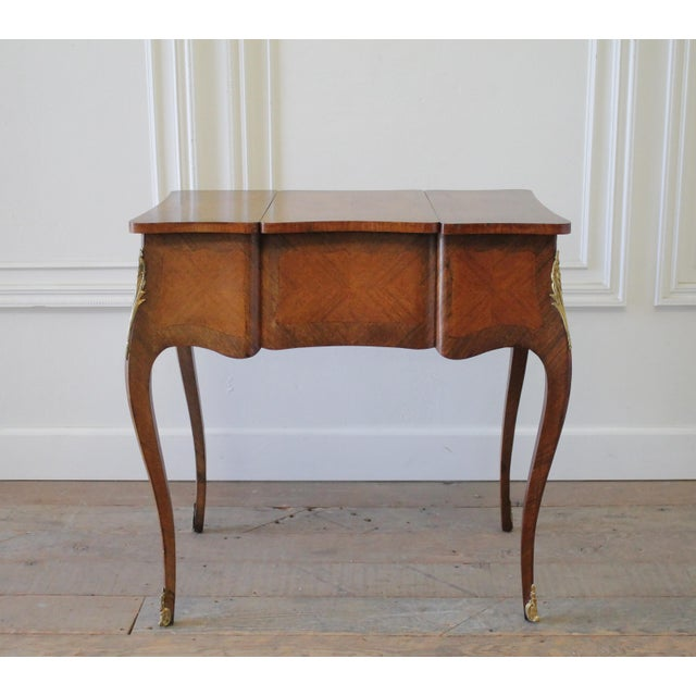 Brown 20th Century Italian Inlaid Vanity With Mirror and Key For Sale - Image 8 of 11