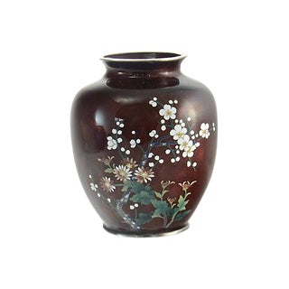 Japanese Burgundy Cloisonne Vase For Sale