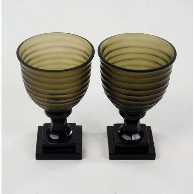 Grace your dinner table with this pair of ribbed glass goblets in the Art Deco style. They are smoky brown with a...