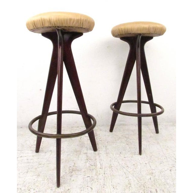 Italian Modern Bar Stools - A Pair For Sale - Image 5 of 5