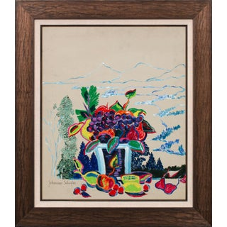 """1976 """"Les Fruites"""" Abstract Still Life Oil Painting by Johannes Schiefer, Framed For Sale"""