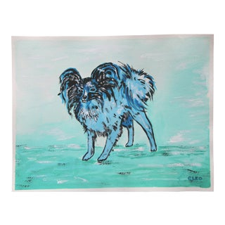 Papillon Dog in Blue by Cleo Plowden For Sale