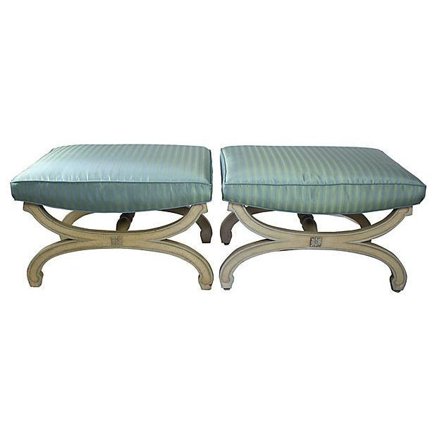 1950s Cerulean X-Stools - Pair - Image 2 of 4