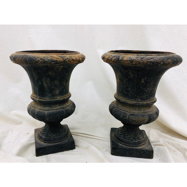 Stunning Pair Petite Antique Cast / Wrought Iron Urns. Perfect planters for an indoor or outdoor buffet or even entry way!...