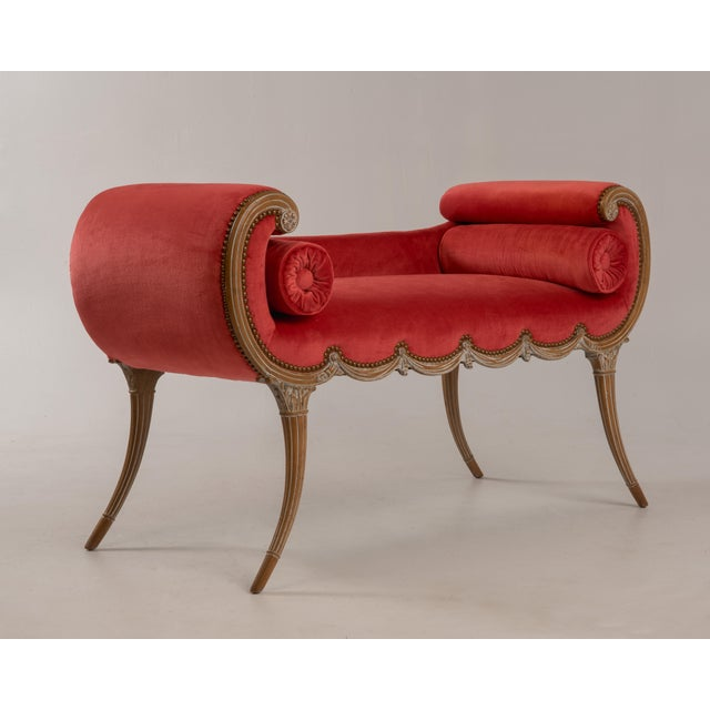 Red Antique Regency Neoclassical Klismos Saber Leg Bench For Sale - Image 8 of 13