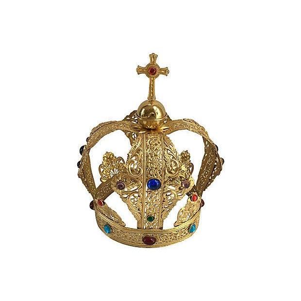 Vintage Brass Filigree Cabochon Crown For Sale - Image 5 of 5