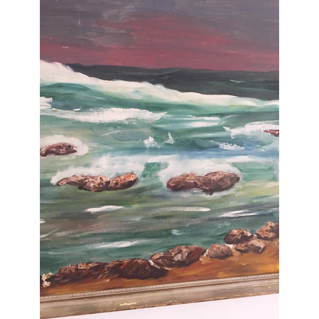 Large Vintage Ocean Landscape Oil Painting For Sale - Image 4 of 6