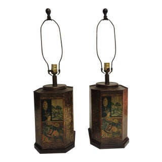 Pair of Tole Hand-Painted Lamps Depicting Asian Court in Traditional Kimonos. For Sale