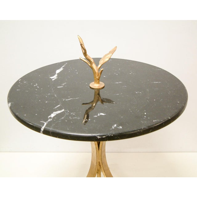 Contemporary 1998 Contemporary Forged and Gilt Gold Steel and Black Marble Occasional Table by Maurice Beane Studios For Sale - Image 3 of 8