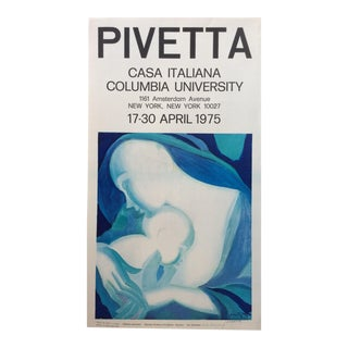 Mid-Century Vintage Mother and Child Poster Signed by Pivetta For Sale