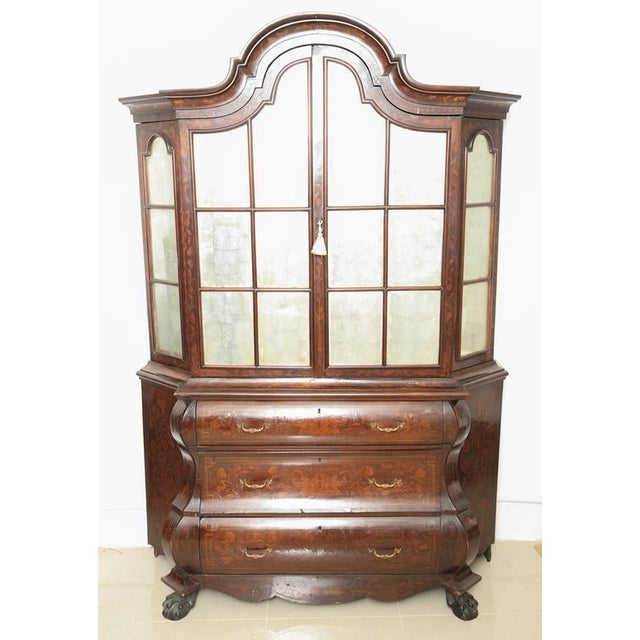 This is a very nice Dutch Marquetry Bookcase all original with superb marquetry. Its mahogany with satinwood marquetry...