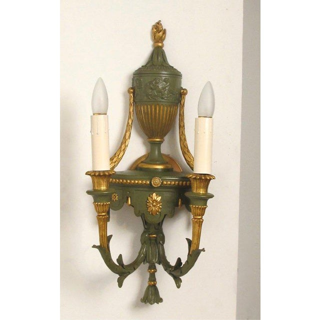 Gilt Metal Neoclassical Style Sconces - A Pair - Image 2 of 4