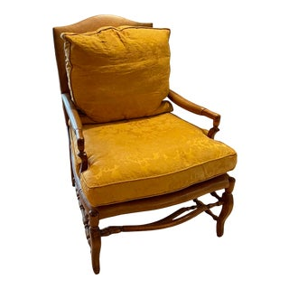 Minton Spidell French Country Fruitwood Leather Arm Chair W Silk Damask Down Cushions For Sale