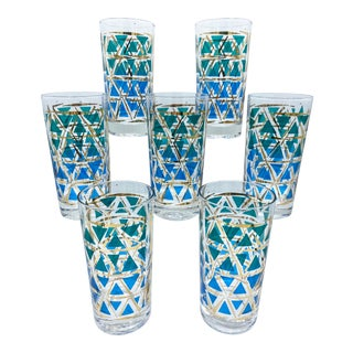 Mid Century Blue Green and Gold Diamond Geometric Pattern Highball Glasses - Set of 7 For Sale
